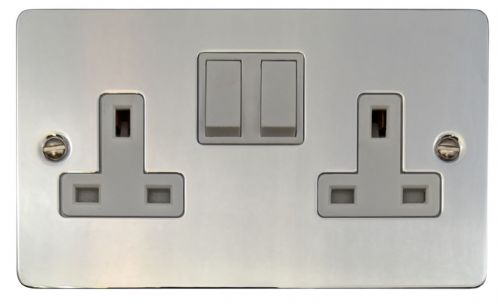 G&H FC10W Flat Plate Polished Chrome 2 Gang Double 13A Switched Plug Socket